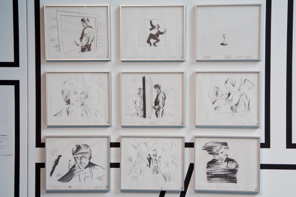 """Nine original drawings from the """"Take On Me"""" video. Photo Credit: Tony Walsh for the Contemporary Arts Center"""